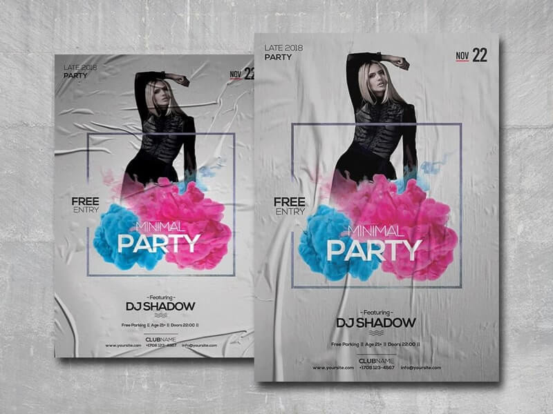 Minimal Party Free PSD Flyer Template