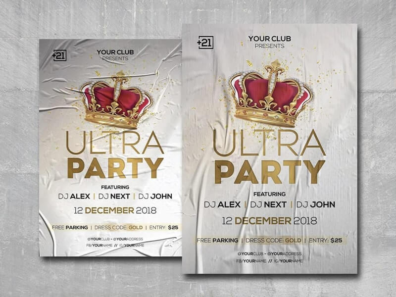 Glamour Party Free PSD Flyer Template