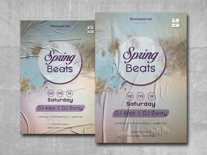 Spring Beats Free PSD Flyer Template