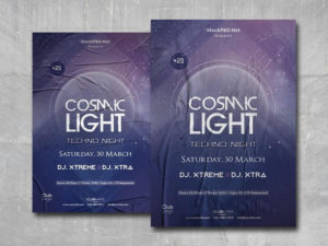 Techno Night Party Free PSD Flyer Template