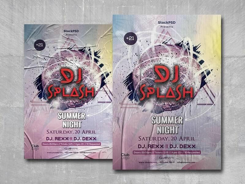 DJ Splash Party Free PSD Flyer Template