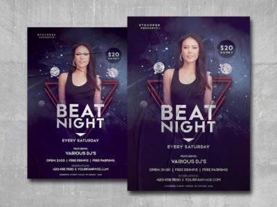 Beat Night Free PSD Flyer Template