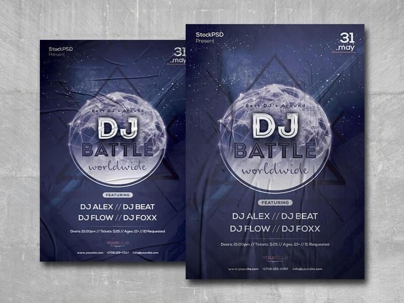 DJ Battle Free PSD Flyer Template