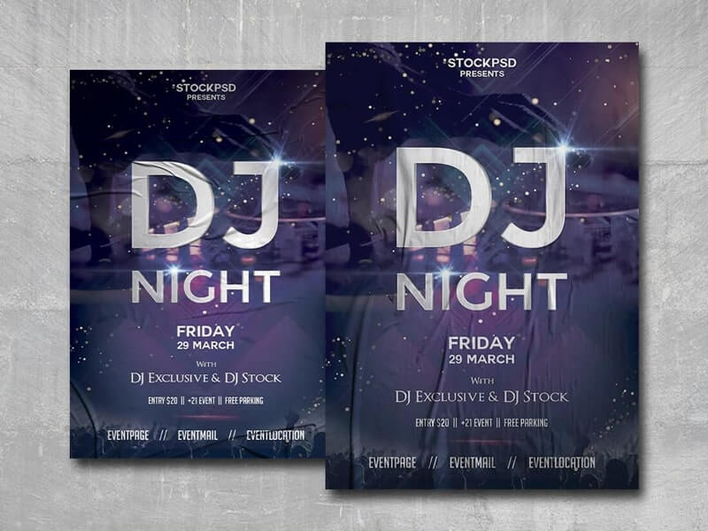 DJ Night Out Free PSD Poster Template