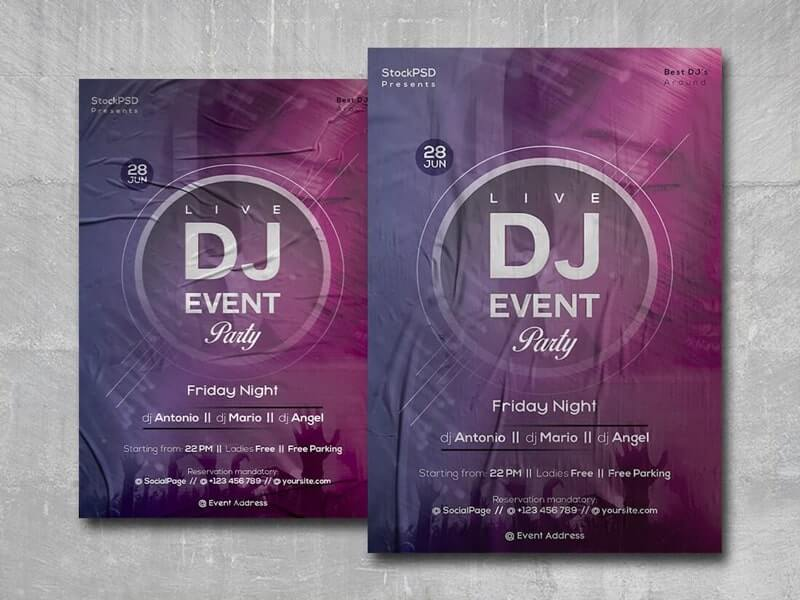 Live DJ Party Free PSD Flyer Template