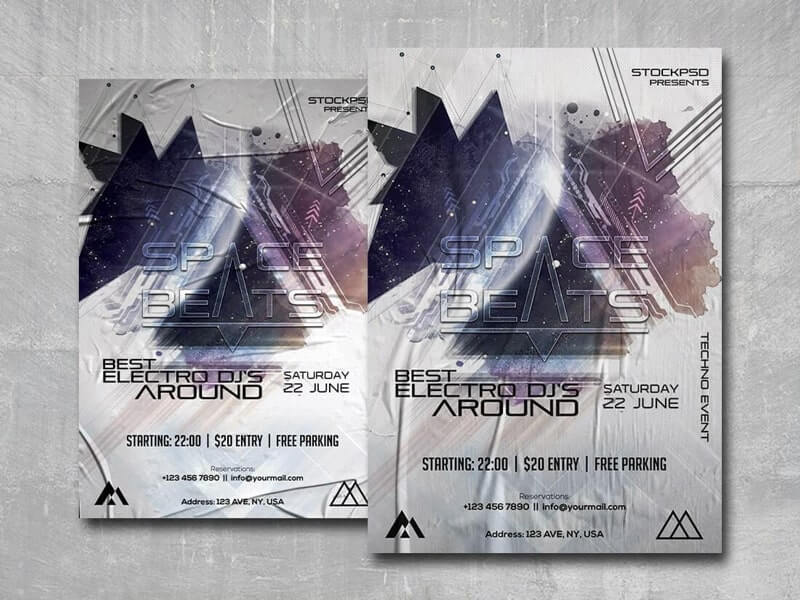 Space Beats Free PSD Flyer Template