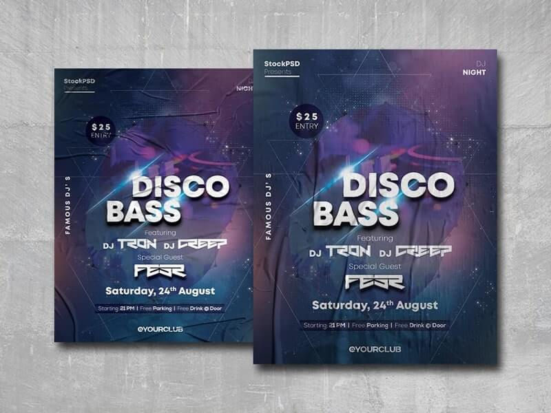Disco Bass Free PSD Poster Template