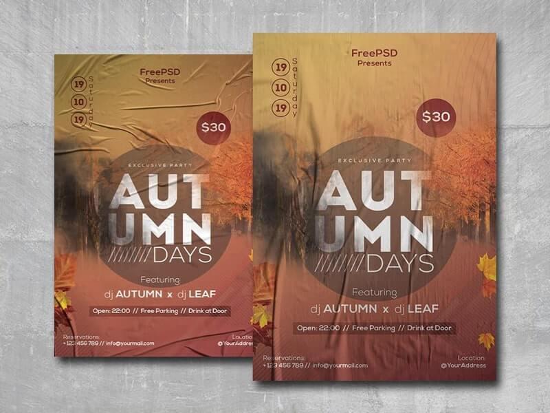 Autumn Days Free PSD Flyer Template