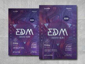 EDM Electro Beats Free PSD Flyer Template