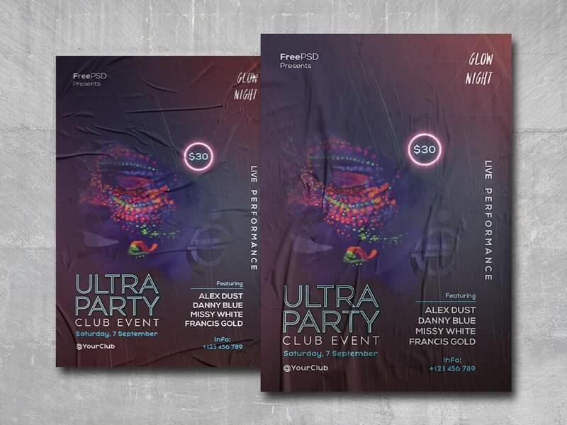 Ultra Party Free PSD Flyer Template