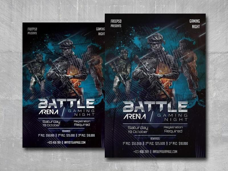 Battle Arena Gaming Free PSD Flyer Template