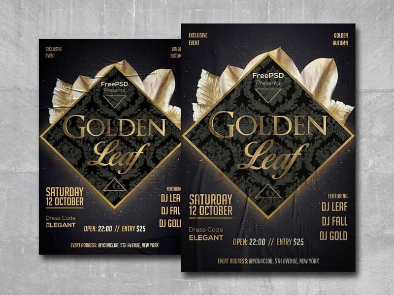 Golden Leaf Free PSD Flyer Template