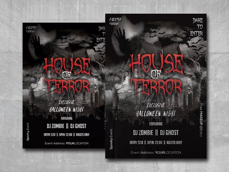 House of Terror PSD Free Flyer Template