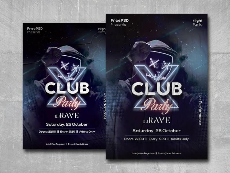 X Club Party Free PSD Flyer Template