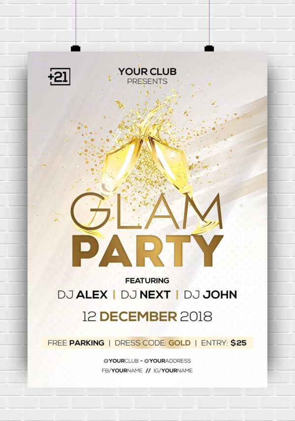 Glam Party Premium PSD Flyer