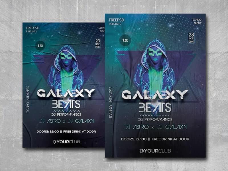 Galaxy Beats Free PSD Flyer Template