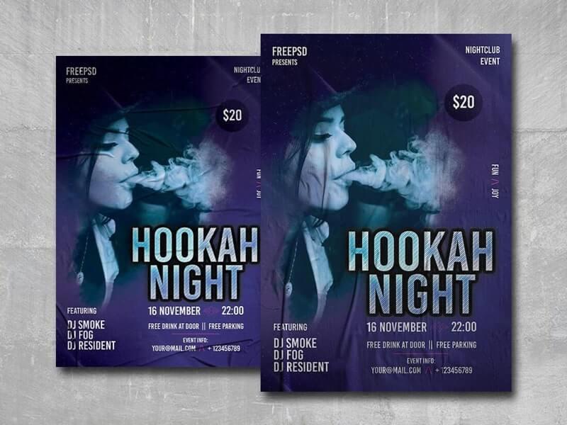 Hookah Night Free PSD Flyer Template
