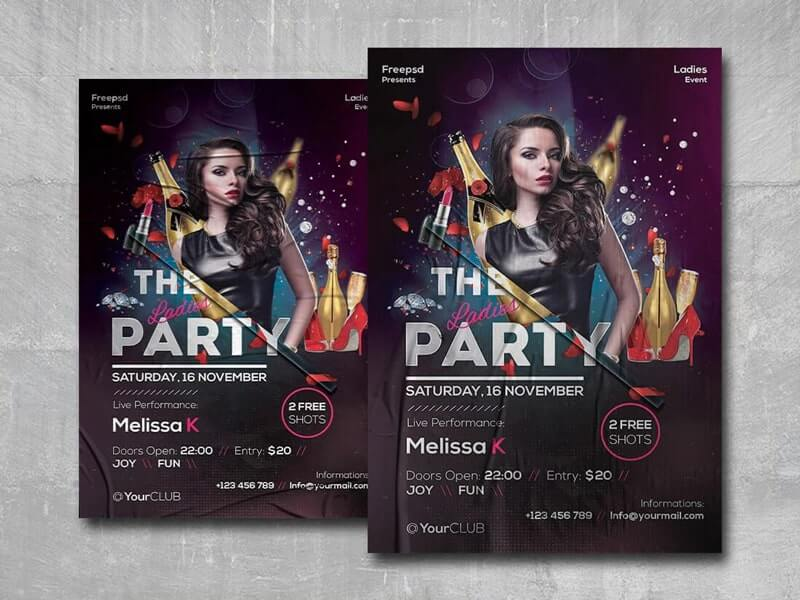 The Ladies Party Free PSD Flyer Template