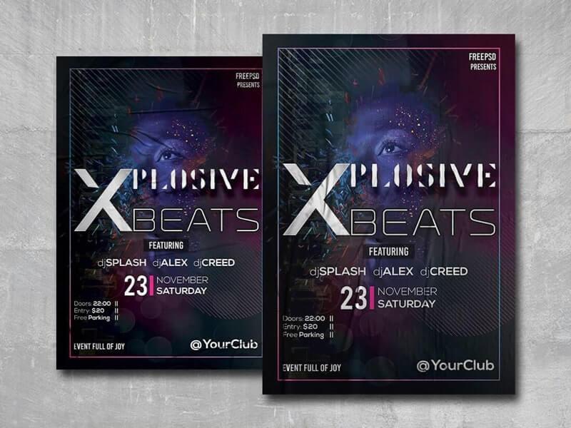 Xplosive Beats Free PSD Flyer Template