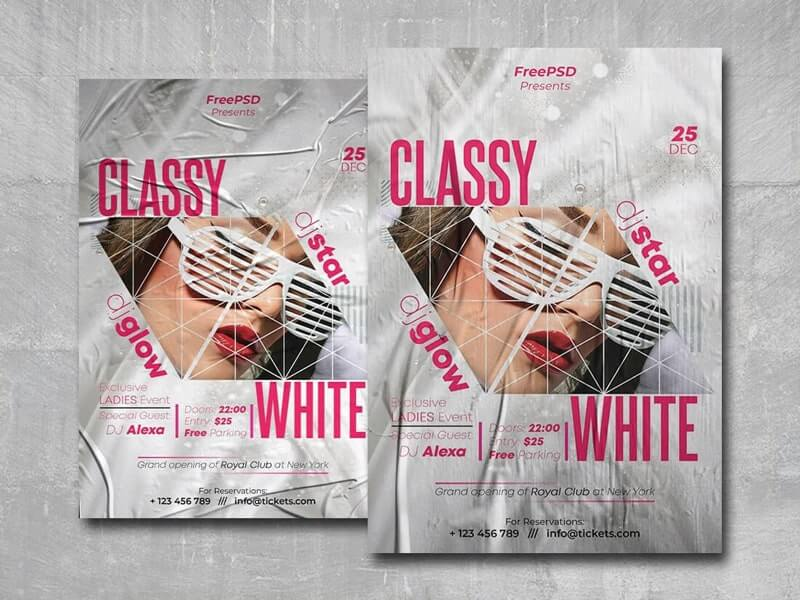 Classy White Free PSD Flyer Template