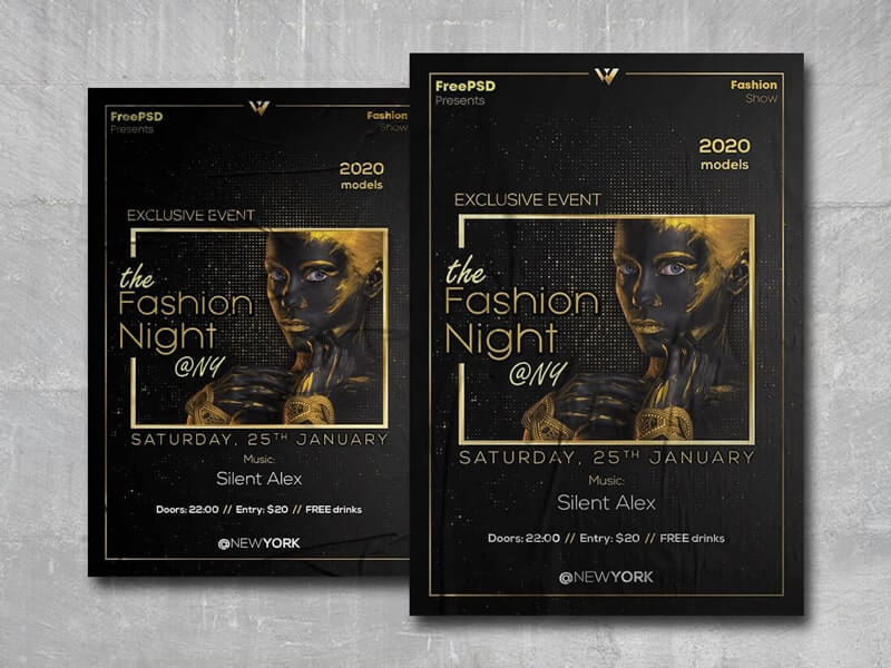 Fashion Night Free PSD Flyer Template