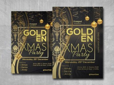 Golden Xmas Party Free PSD Flyer Template