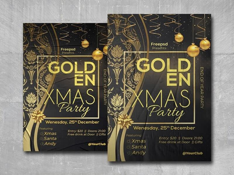 Golden Xmas Party Free PSD Flyer Template