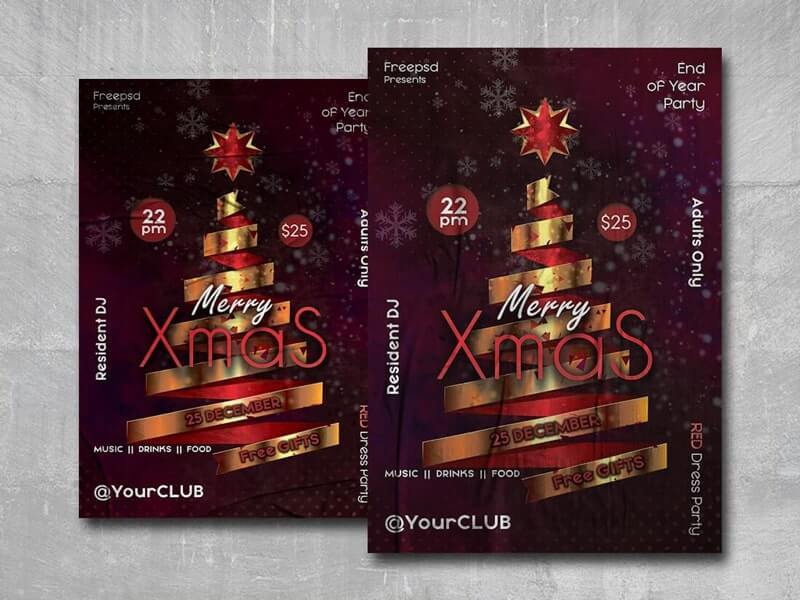Merry Xmas Night Free PSD Flyer Template