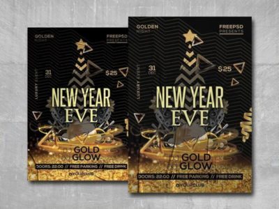 Golden New Year Eve Free PSD Flyer Template