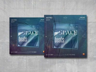 Space Beats Cover Free PSD Template