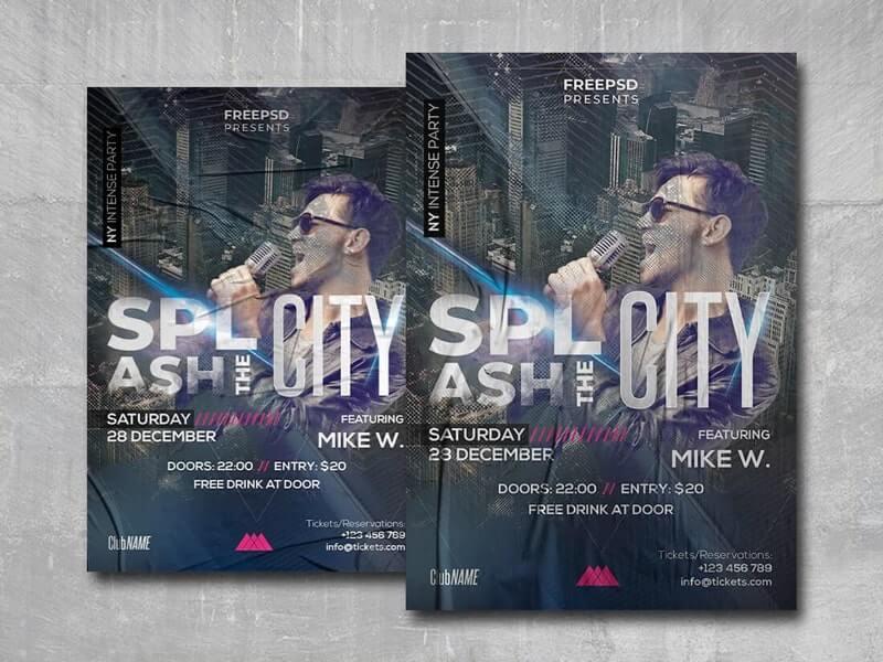 Splash the City Free PSD Flyer Template