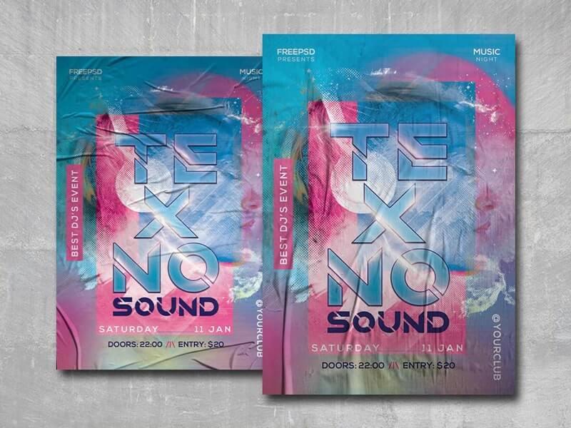 Techno Sound Free PSD Flyer Template