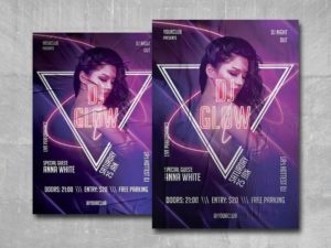 Glow DJ Party Free PSD Flyer Template