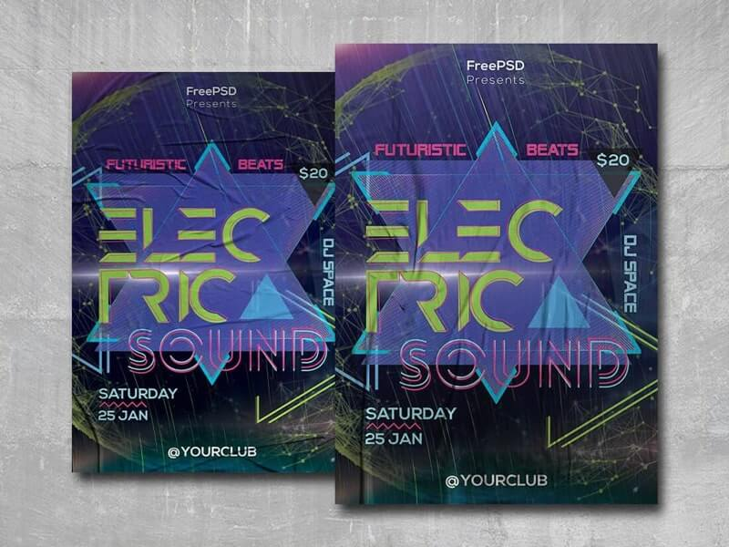 Electric Sound Free PSD Flyer Template