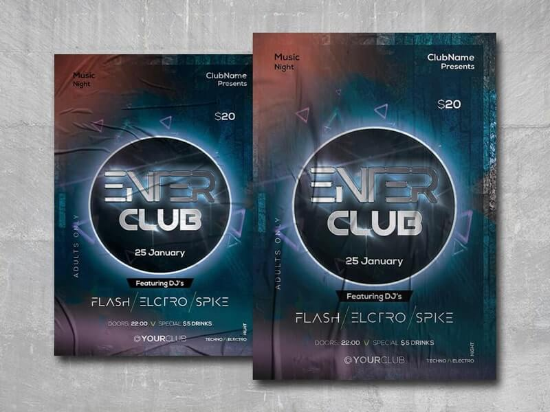 Enter Club Free PSD Flyer Template
