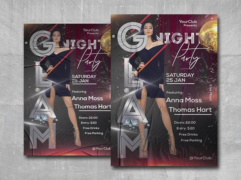Glam Night Party Free PSD Flyer Template