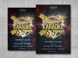 Golden Karaoke Night Free PSD Flyer Template