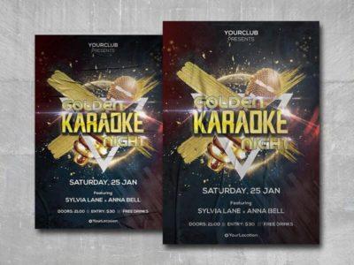 Golden Karaoke Night Free PSD Flyer Template