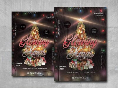 Glowing Xmas Free PSD Flyer Template