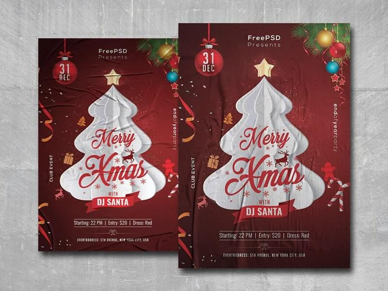 Merry Xmas 2020 Free PSD Flyer Template
