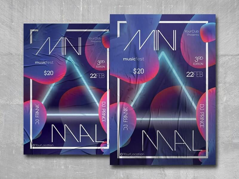 Minimal Club Party Free PSD Flyer Template