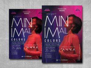 Minimal Music Festival Free PSD Flyer Template