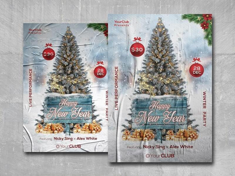 New Year 2020 Party Free PSD Flyer Template