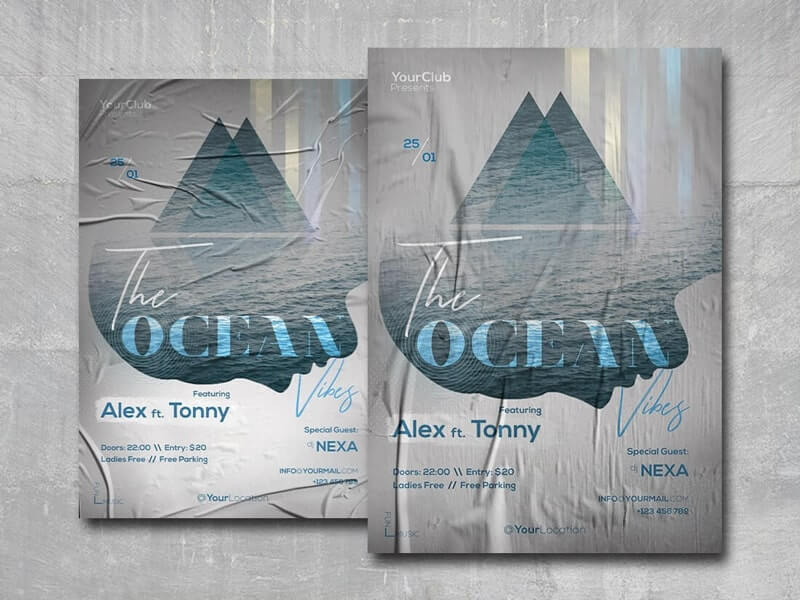 The Ocean Vibes Free PSD Flyer Template