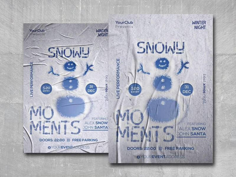 Snowy Moments Free PSD Flyer Template