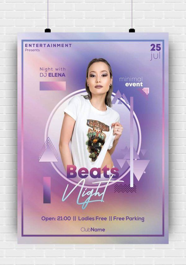 Beats Night Premium PSD Poster Template