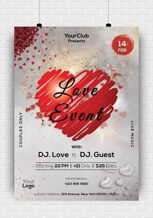 Love Event Party PSD Flyer Template