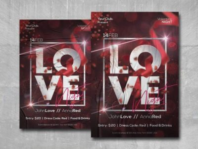 Valentine Love Night Free PSD Flyer Template