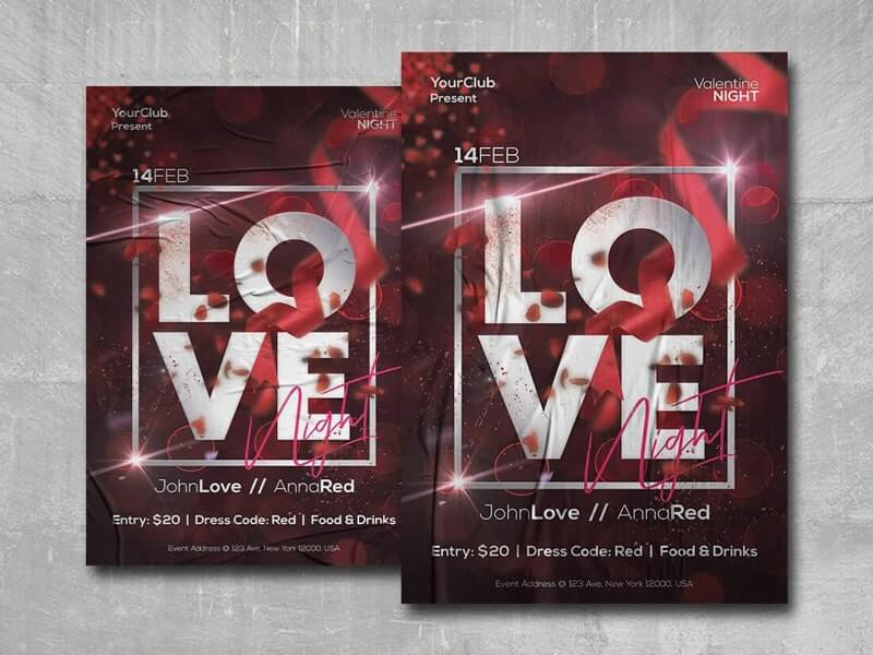 Valentine Love Night Free PSD Flyer Template