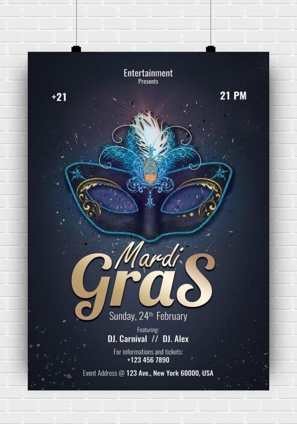 Mardi Gras 2020 PSD Flyer Template
